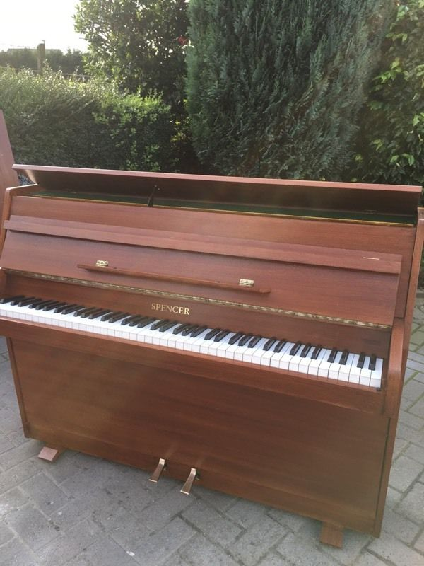 Small modern upright piano by spencer light walnut for Small grand piano